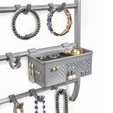 Lynk Over Door Or Wall Mount Jewelry Organizer Rack, Platinum
