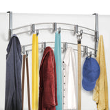Lynk Over Door Accessory Holder - Scarf, Belt, Hat, Jewelry Hanger - 9 Hook Organizer Rack - Platinum