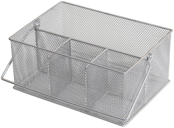 Storage organizer ybm home mesh silver condiment caddy kitchen supply utensil silverware organizer cutlery holder flatware storage napkin holder w 7 l 9 1 4 depth 4 3 8 inch 1151m 6