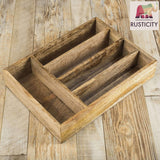 Save rusticity wooden utensil drawer organizer with 5 compartments kitchen flatware cutlery tray organizer mango wood handmade 13 7 x 10 2 x 2 6 in