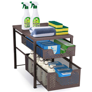 Try simple trending 2 tier under sink cabinet organizer with sliding storage drawer desktop organizer for kitchen bathroom office stackbale bronze
