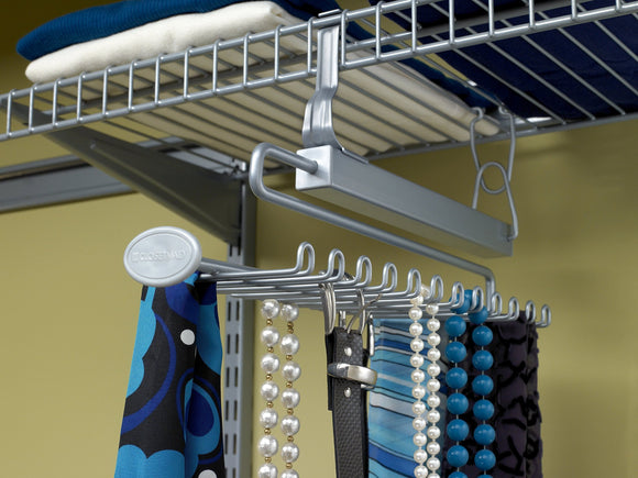 ClosetMaid 78060 Sliding Tie & Belt Rack for Wire Shelving, Satin Chrome