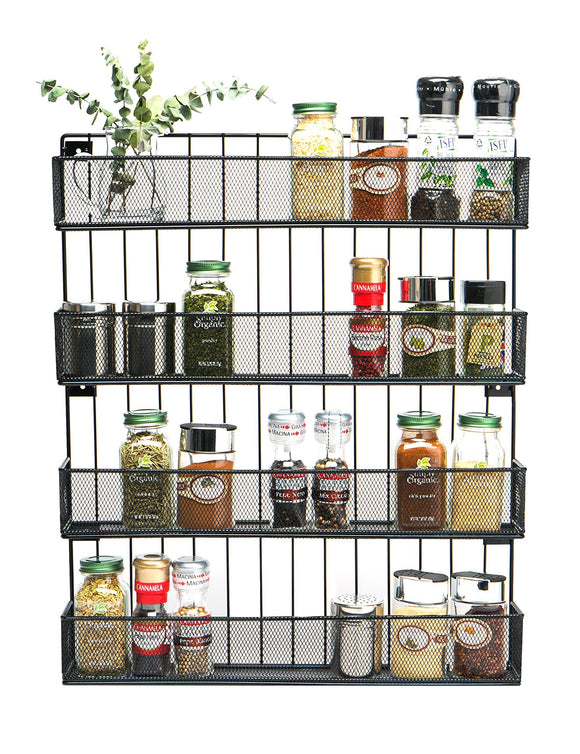 Explore jackcubedesign wall mount spice rack 4 tier kitchen countertop worktop display organizer spice bottles holder stand shelves17 6 x 2 8 x 20 8 inches mk418a