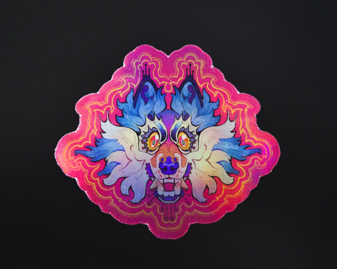 """Radiate"" holographic wolf sticker"