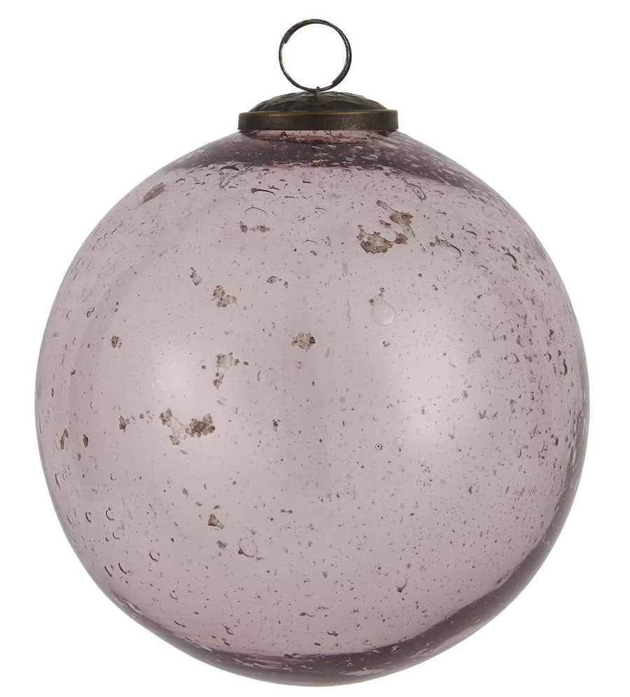 Weihnachtskugel in rosa, pebbled glass, Ø 13,4 cm
