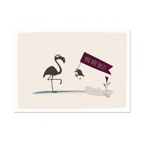 Postkarte You are nice - Flamingo