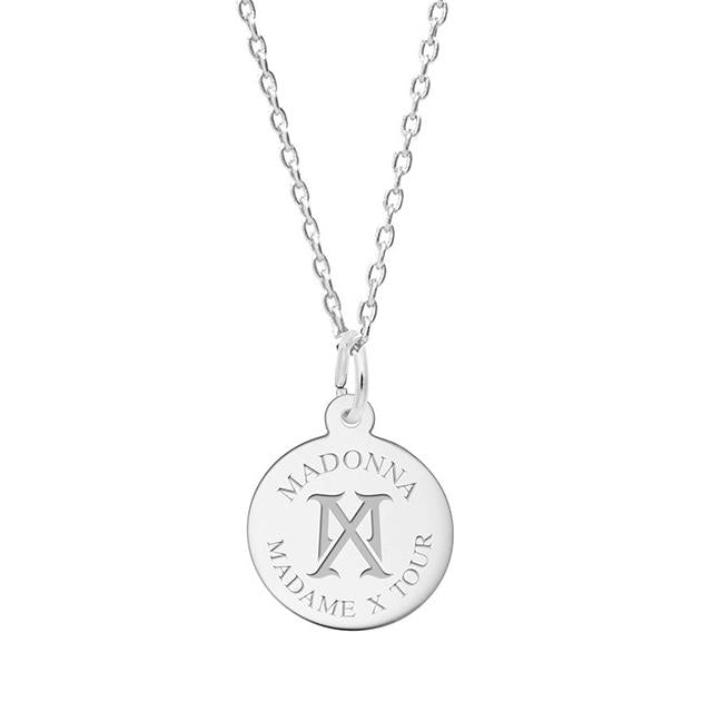 Madonna MX Logo Silver Necklace