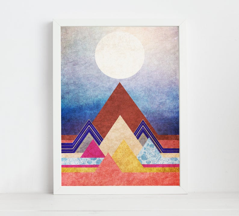Wall Art Abstract Art Mountain Print Poster Scandinavian Modern Art Mountain Scandinavian Art Wall Art Mountain Poster