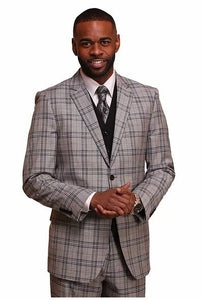 Plaid 3pc Suit (Stone) DKM1879