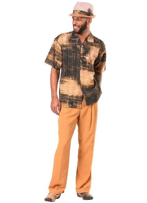 Montique 2pc shirt & pant set 9041 Apricot