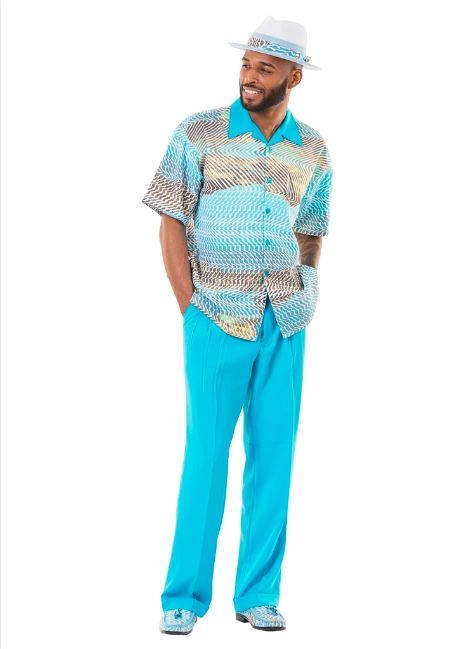 Montique 2pc shirt & pant set 9151 Blue