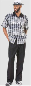 Montique 2pc shirt & pant set 9371 Black