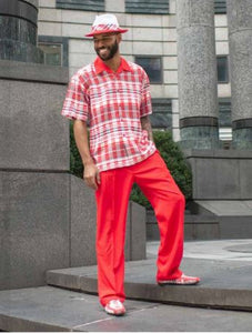 Montique 2pc shirt & pant set 9371 Red