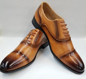 Cap Toe Burnished Dress Shoe (Tan) DKM2542