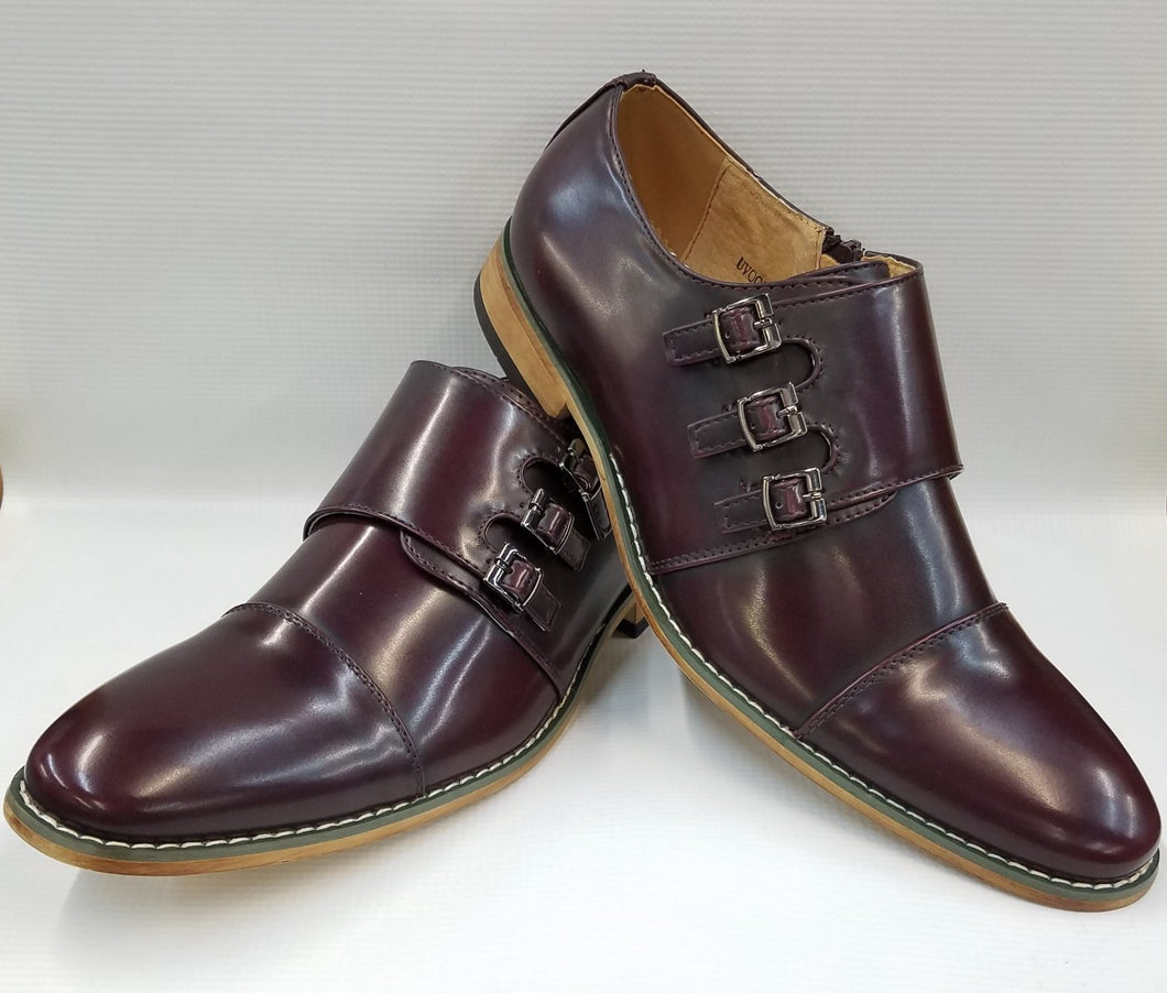 Classic Cap Toe Triple Monk Strap Dress Shoe (Burgundy) DKUV900