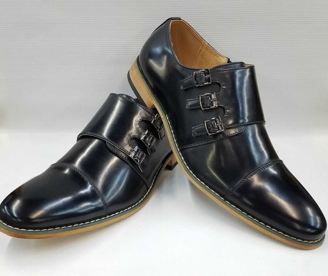 Classic Cap Toe Triple Monk Strap Dress Shoe (Black) DKUV900