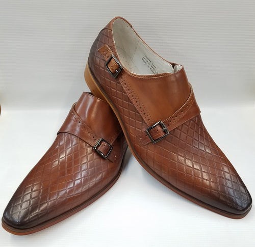 Double Buckle Monk Strap Dress Shoe (Cognac) DKJASP