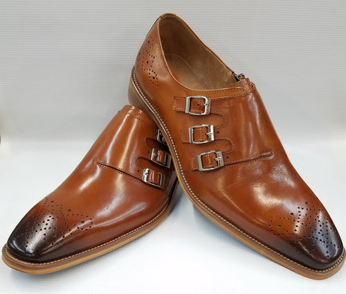 Steven Land Monk Strap Shoes (Cognac) DKSL0070