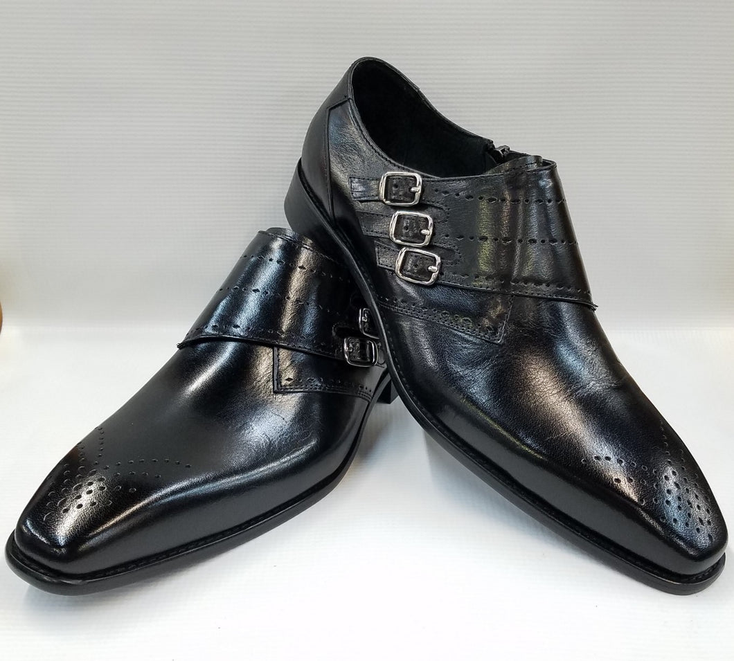 Steven Land Monk Strap Shoes (Black) DKSL0063