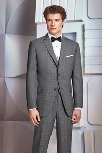 Ultra Slim Fit Grey Plaid Suit (Hamilton)