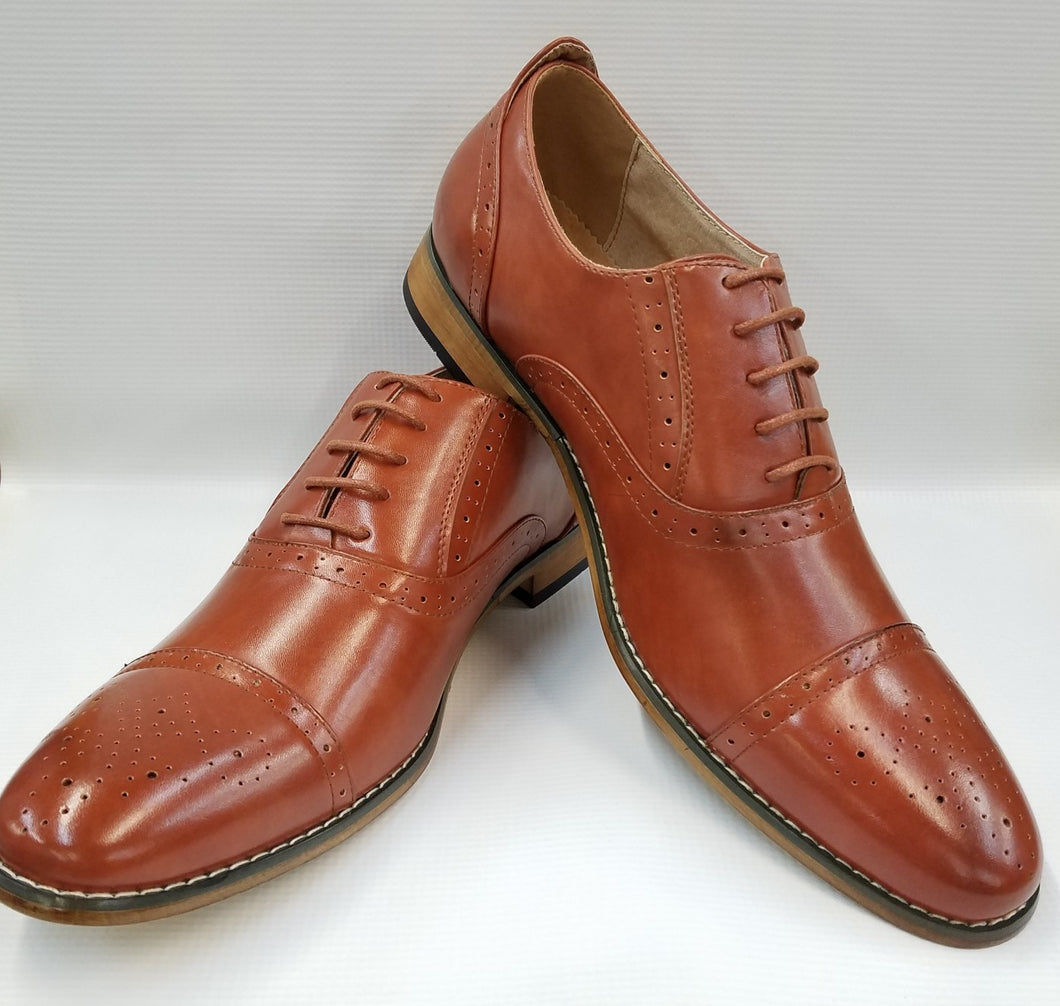 Cap Toe Dress Shoe (Cognac) DKM2521