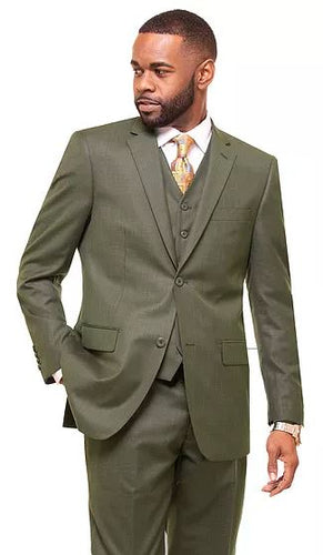 Vitali Modern Fit 3pc Suit (Olive) DKM3090