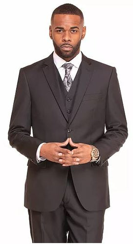 Men's black modern fit 3pc suit