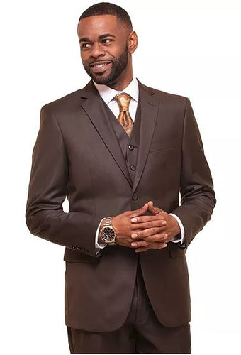 Men's brown modern fit 3pc suit