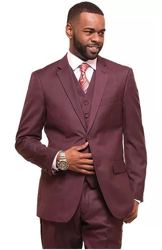 Men's burgandy modern fit 3pc suit