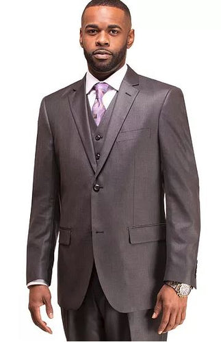 Men's modern fit 3pc suit (Charcoal Grey)