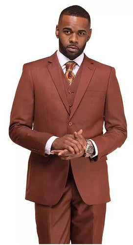 Men's modern fit 3pc suit (Rust)