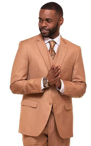 Men's modern fit 3pc suit (Latte)