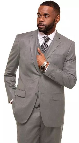 Men's modern fit 3pc suit (Stone/Lt. Grey)