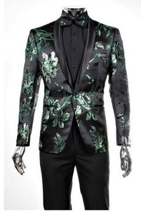 Floral Print Fashion Formal Suit (Green) DKRP559-06