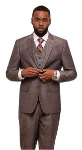 Textured Sharkskin 3pc Suit (Taupe) DKM6038