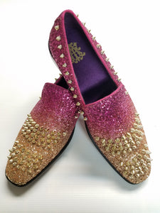 Men's Spiked Fashion Loafers (Fuschia/Gold) DKGLO6680GF
