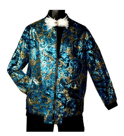 Stacy Adams Sequin B.Ball Jacket (Teal) DKSLICK