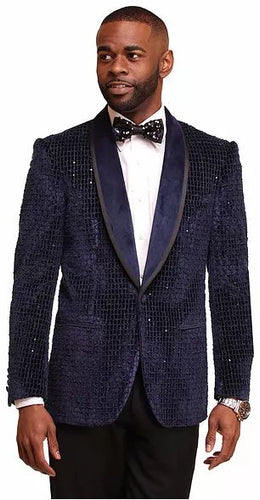 Velvet Fashion Sport Coat (Navy) dkc2780