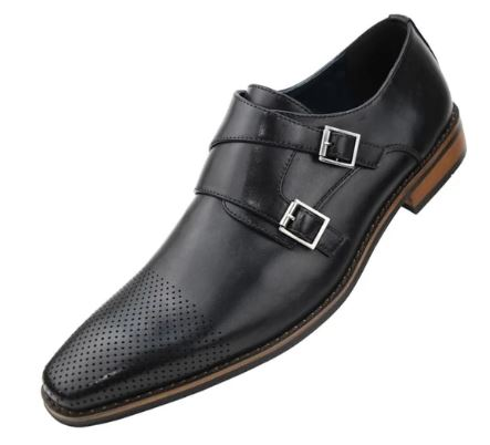 Double Monk Strap Dress Shoe (Black) DKDEMNG