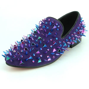 Men's spiked fashion loafers (Purple) DKF17239