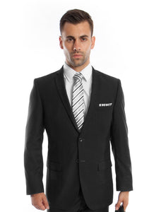 Men's 2 button black slim fit suit