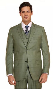 Window Pane 3pc Suit (Green) DKM2735GRN