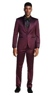 Stretch fit ultra slim 3pc formal suit (burgundy)