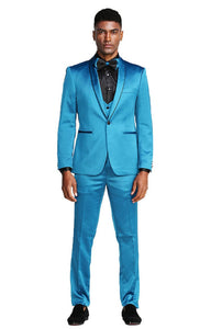 Stretch fit ultra slim 3pc formal suit (turquoise)