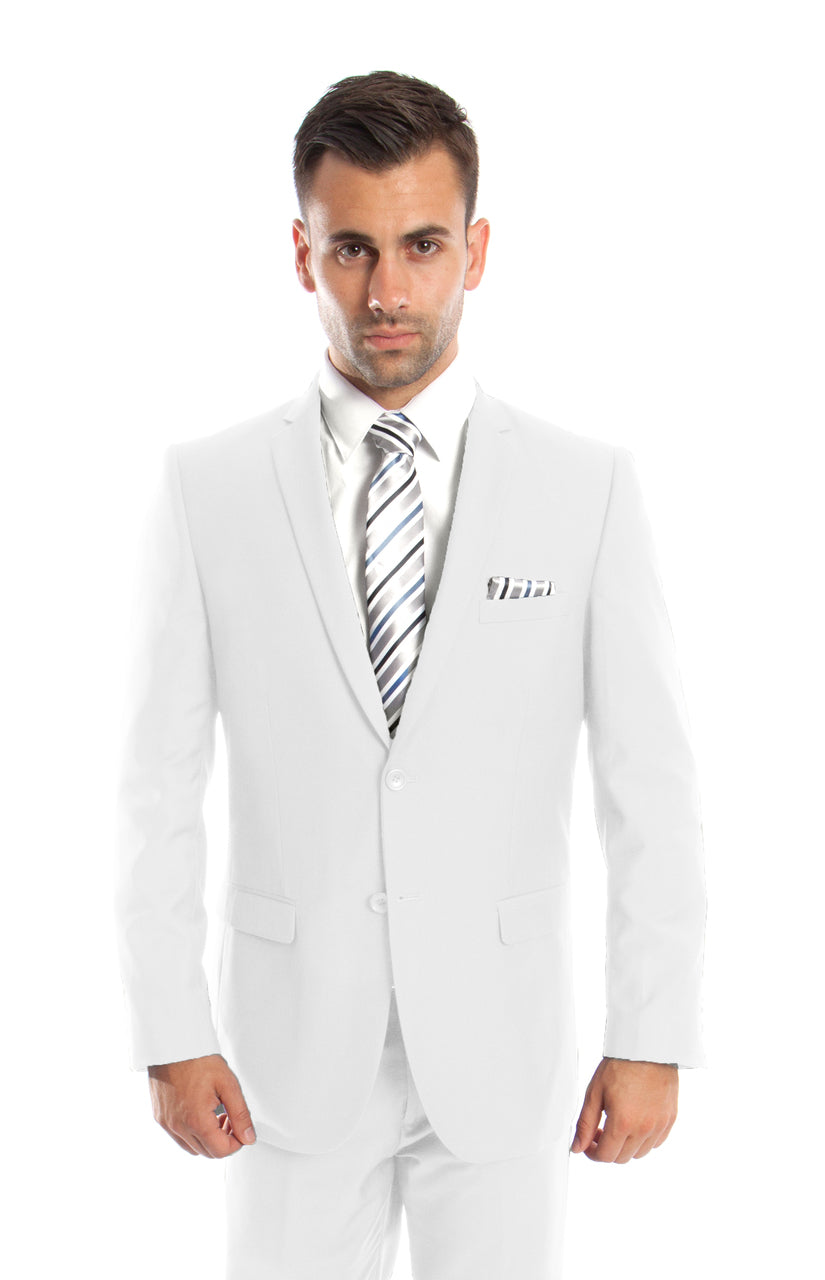 Men's 2 button white slim fit suit DKM085S