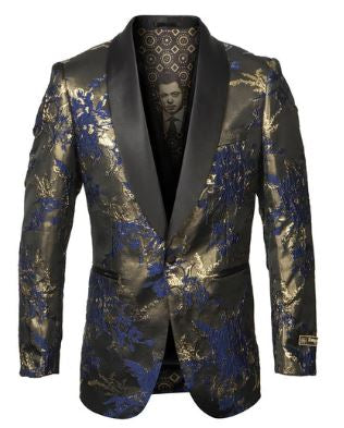 Empire Collection Fashion Sport Coat (Black/Gold/Royal) DKME278H