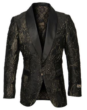 Empire Collection Fashion Sport Coat (Black/Gold) DKME292H