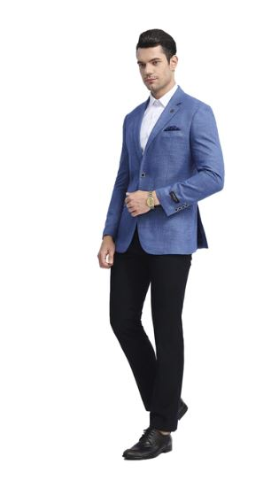 Tazio Slim Stretch Fit Sport Coat (Blue) DKMJ288S