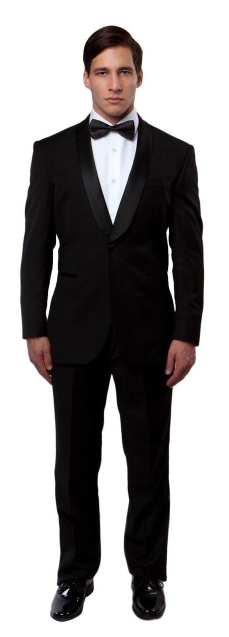 Slim fit 1 button shawl collar black tuxedo
