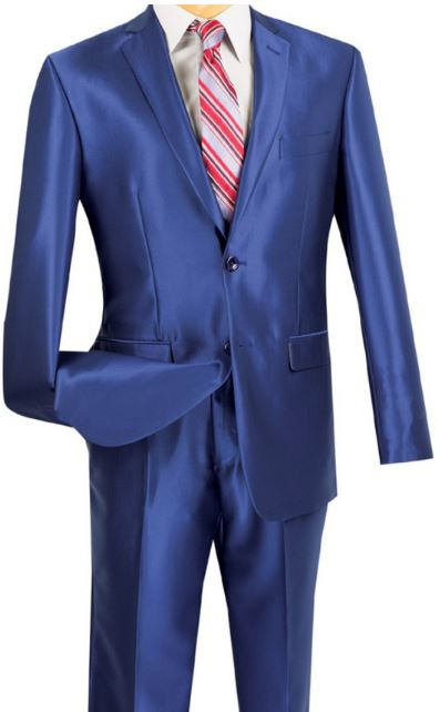 Slim Fit Sharkskin Suit (Blue) DKS2RK-5